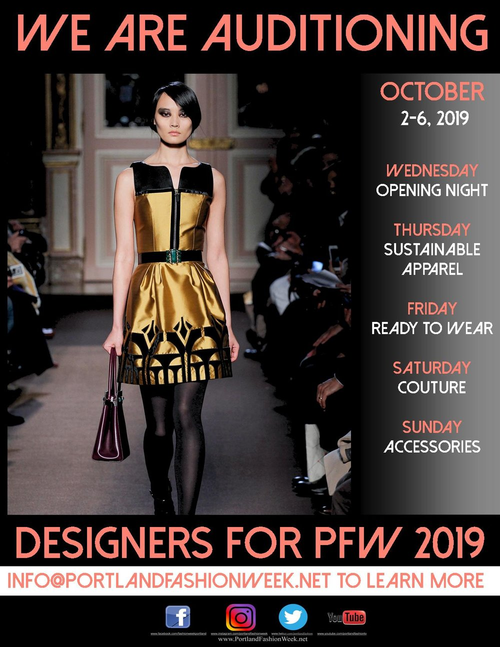 Portland Fashion Week 2019 - Our venue has been chosen, dates selected, and now it begins! The most sustainable and eco-chic fashion week in the entire world has now opened our Portland Fashion Week 2019 Designer Roster and is seeking participating fashion and accessory designers in the categories and days mentioned at left.To inquire more about what the Council of Fashion Designers of America have called the ''new business model and template for fashion weeks'' or to become a participating designer we encourage you to contact us at: Designer@PortlandFashionWeek.net for your chance to possibly become part of the world's most sustainable fashion week.