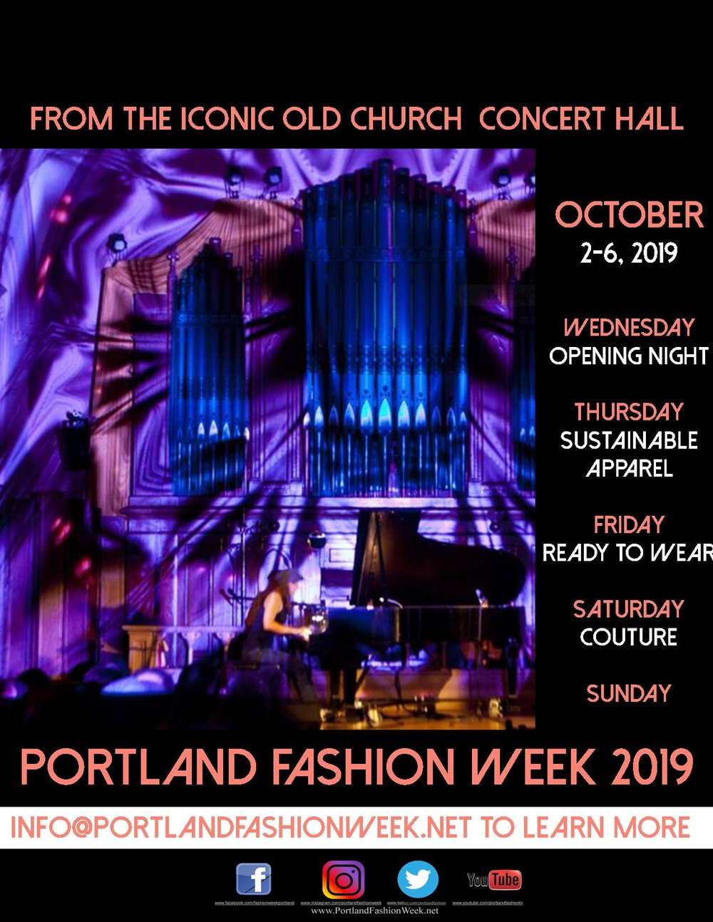 PFW 2019 - will be hosted by The Old Church Concert Hall Wed. Oct. 2 - Sun Oct. 6, 2019! Tickets on sale now!