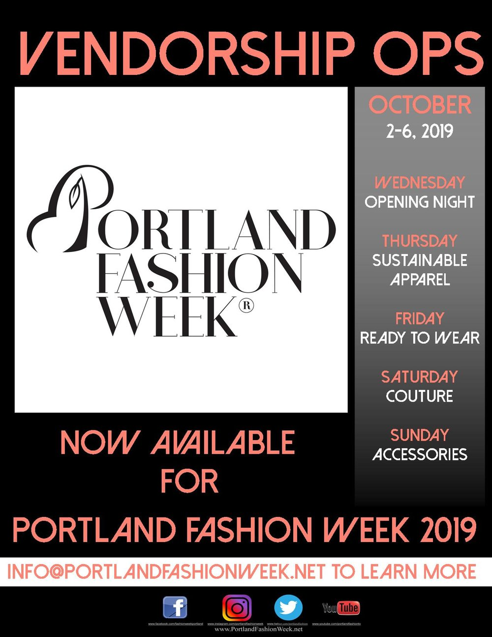 We have opened PFW 2019 - to a limited number of vendorship opportunities. Please contact us at info@portlandfashionweek.net to book your spot now.