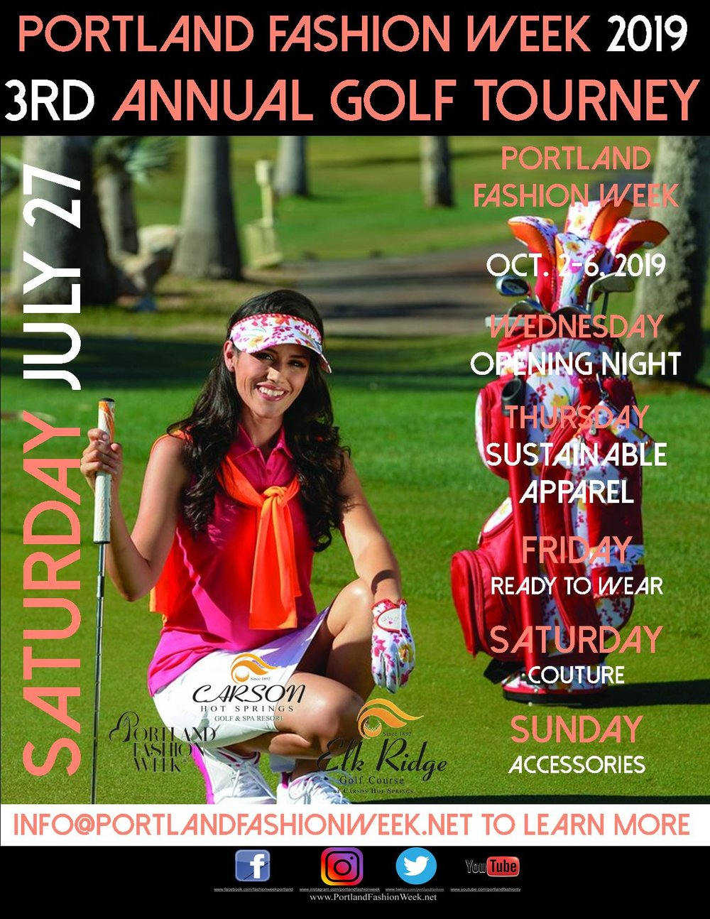 """Teams are forming now! - Sponsor a hole, form a team, or just come out to support a good cause while enjoying the beautiful links, gorgeous Columbia River Gorge views and lunch in the Clubhouse with our famous """"Portland Fashion Week Bloody Mary Bar""""!Our shotgun start and over $125,000.00 in cash and prizes since 2017 including a 1954 Jaguar XK 120, $1,000.00 Bounties on Holes in One from the Tee and 4th, and guaranteed prizes for all players make this a very attractive tourney to play in.From Elk Ridge Golf Course in Carson, WA., the region's premier golf course!"""