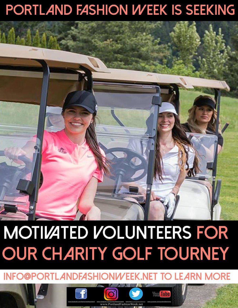 "Four! - Portland Fashion Week is seeking a few top notch volunteers to help with our 3rd Annual Charity Golf Tourney July 27, 2019 from the beautiful Elk Ridge Golf Course in Carson, WA.!Dinner, drinks, dancing and golf provided for our support teams and our ""All You Can Eat Bloody Mary Bar"" is purely decadent!Since 2017 we have featured over $125,000.00 in cash and prizes, including a fully restored 1957 Jaguar XK 12 and thousands in cash bounties on holes in one!Info@PortlandFashionWeek.net to learn more!"