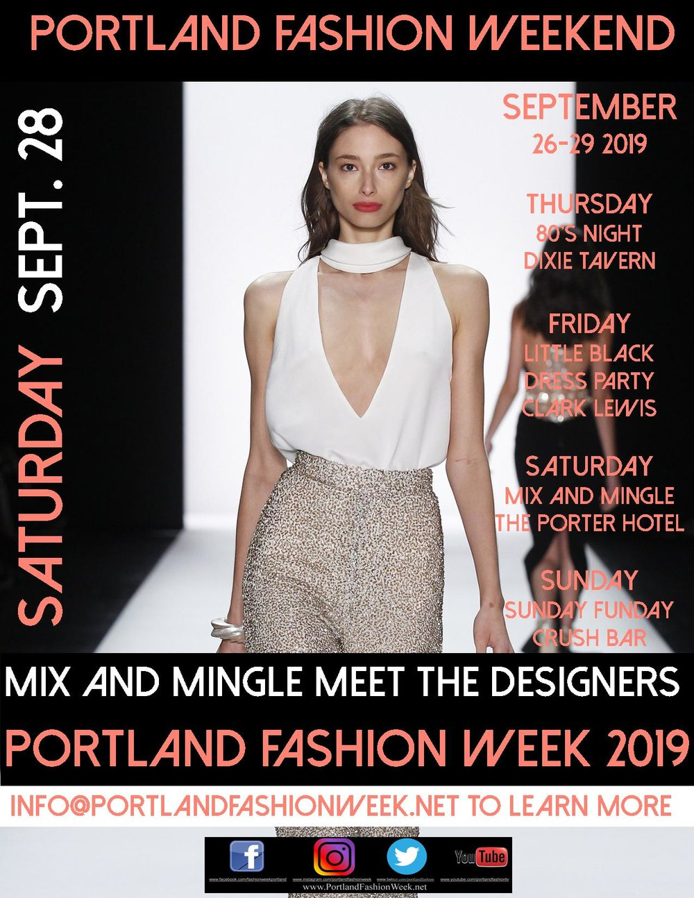 Meet the designers! Mix, mingle, network and nosh from the gorgeous  Porter Hotel ! Hosted by Portland Fashion Week 2019.