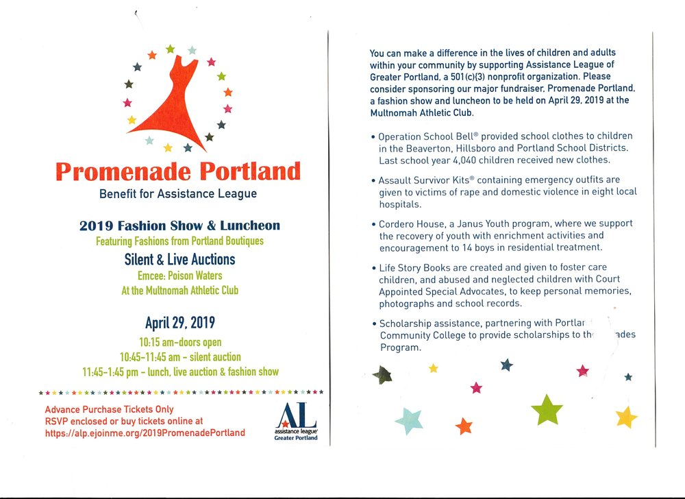 Assistance League of Greater Portland - presents Promenade Portland! Portland's Spring Fashion Show and Benefit!