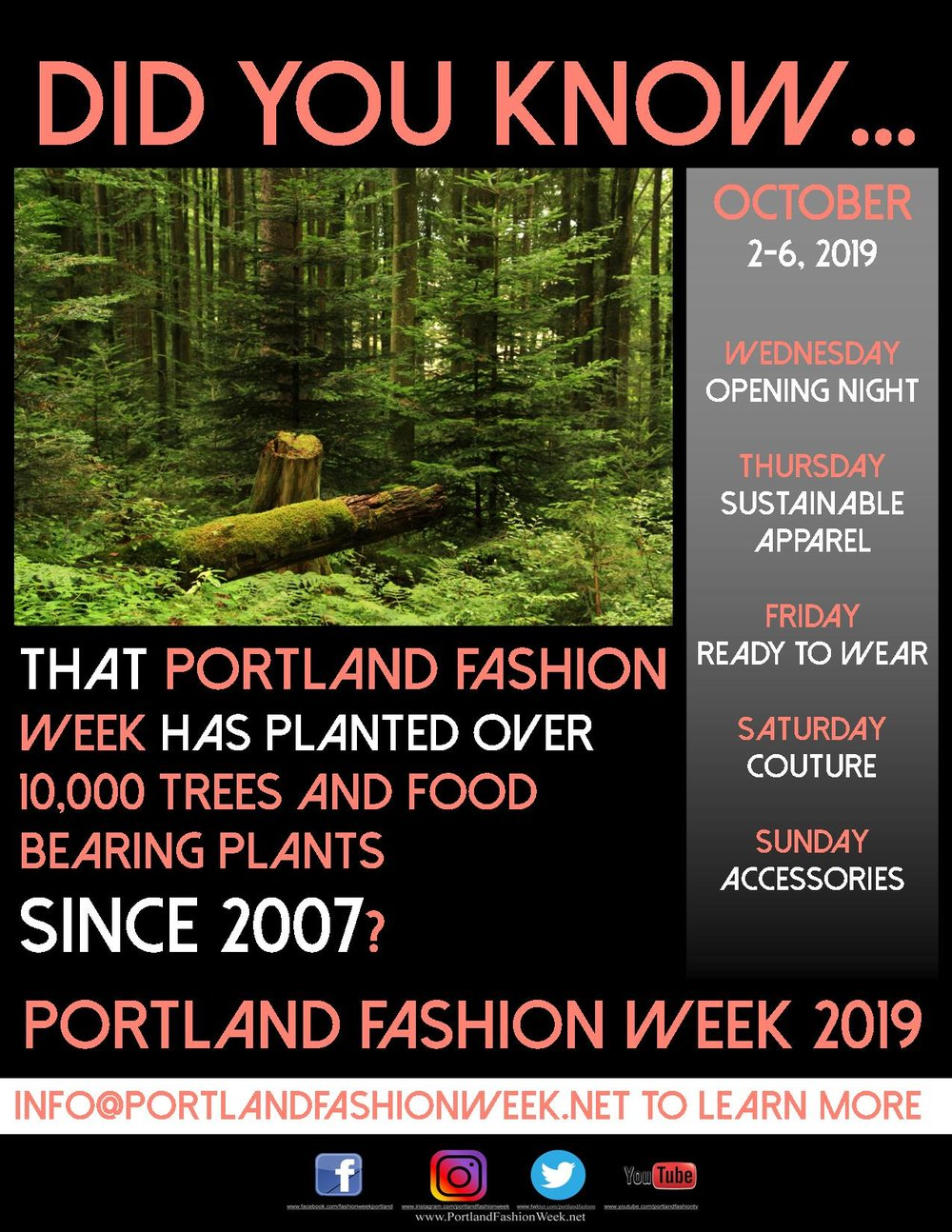 Join Portland Fashion Week! - All hands on deck for Spring cleaning just in time for the inaugural Gresham Lilac Run.Join PFW and fellow volunteers at Main City Park as we clean up parts of the Spring Water, Saddle Butte and Butler Creek Trails.Meet up 10:00 am on Saturday, April 6 at the big red barn in Main City park for some hot coffee and a brief information session.Trash bags, gloves and trash pickers will be provided.For questions or to RSVP, please email Sasha.Konell@GreshamOregon.gov by March 30, 2019.