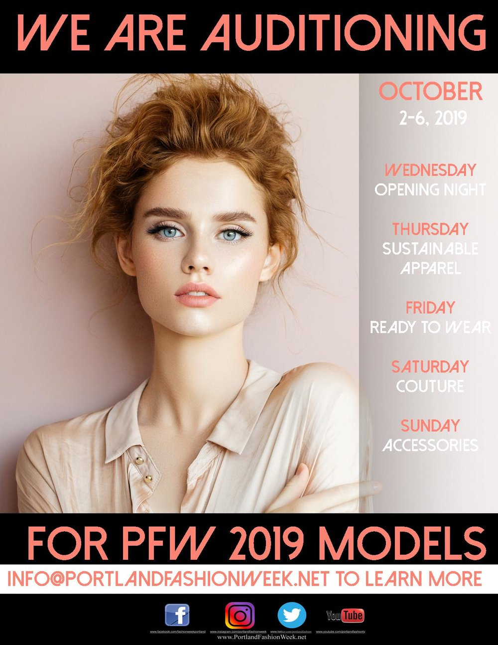 - #Scouting: Become a PFW ModelPortland Fashion Week holds several model searches throughout the year, attracting standout novice and veteran models from across the nation. With Model Search Events spanning the Portland metro out to Central Oregon, we look for lasting impressions that will resonate with our designers and audience.What happens at a PFW Model Search?We run a well oiled machine to see, on average, 75 models in under an hour. As models check in, they are asked to sign an NDA and fill out a stat sheet, for later. Our team will then lead our potential models through a series of steps including a still photo, professional measurements, and a recorded runway walk. While we wish we had time to chat with all of our potential models, our panel of professional judges are focused on viewing and reviewing all candidates, to then share decisions with our team who will be in contact with those, selected.Interested in starting the process and auditioning to be a PFW model? Contact us at model@portlandfashionweek.net. Please include your stats (height, weight, bust, waist, inseam, dress size, shoe size, hair/eye color), a headshot, and full body photo. A member from our team will reach back to you with upcoming Model Search information.