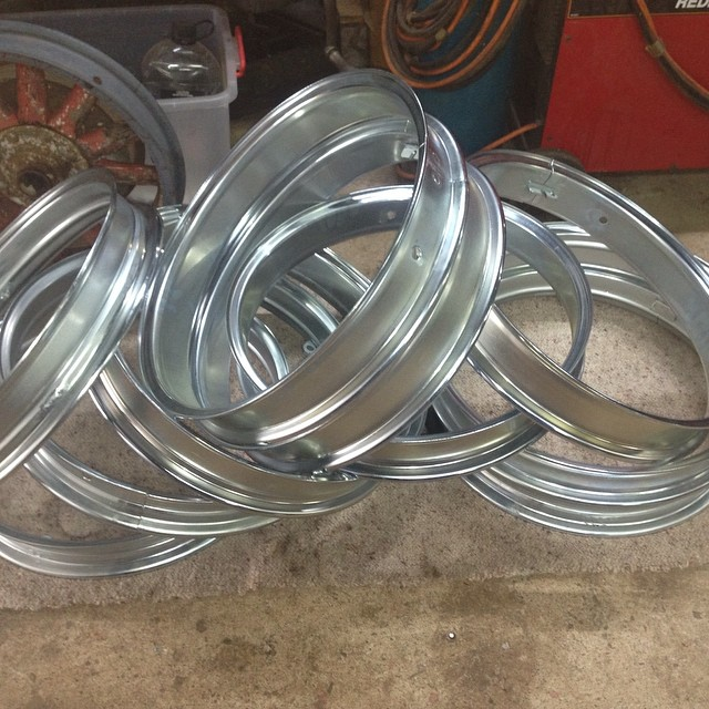 "This batch of 21"" rims have been zinc plated just like they were in the good old day . I take pride in producing a quality rim . The zinc plating is a cost effective , durable finish that enhances , not only the rim , but the vehicle it's going on . #chevrolet #whippet #dodge #ford #Studebaker #essex #knight#erskine#bugatti#hupmobile#plymouth"
