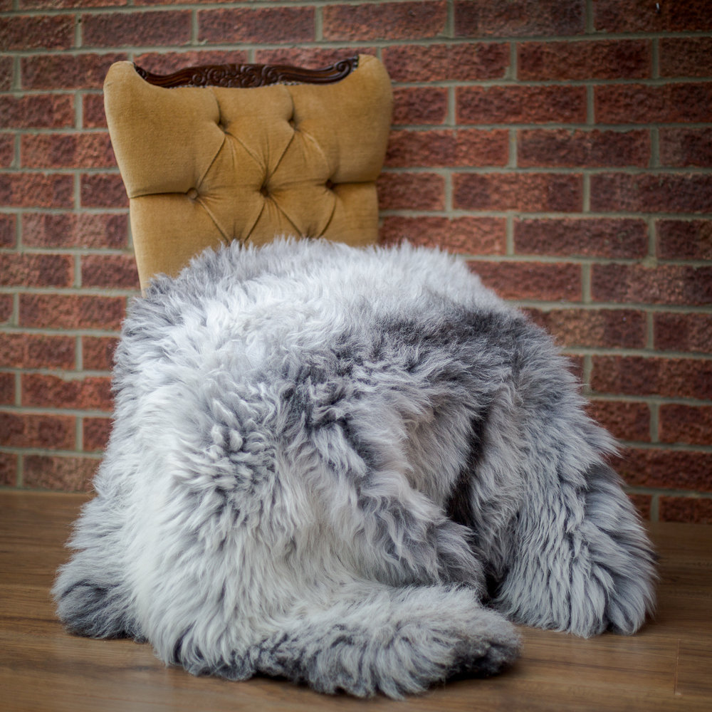 Extra large grey sheepskin rug