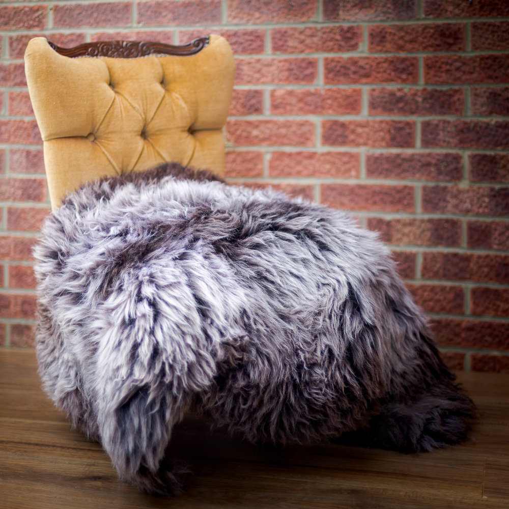 Extra large natural purple sheepskin rug