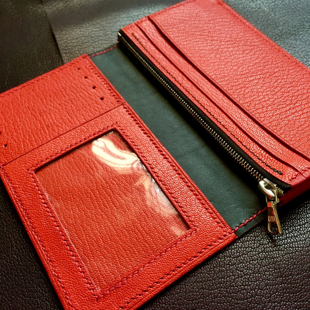 Bespoke ladies wallet (Barenia & Chevre)