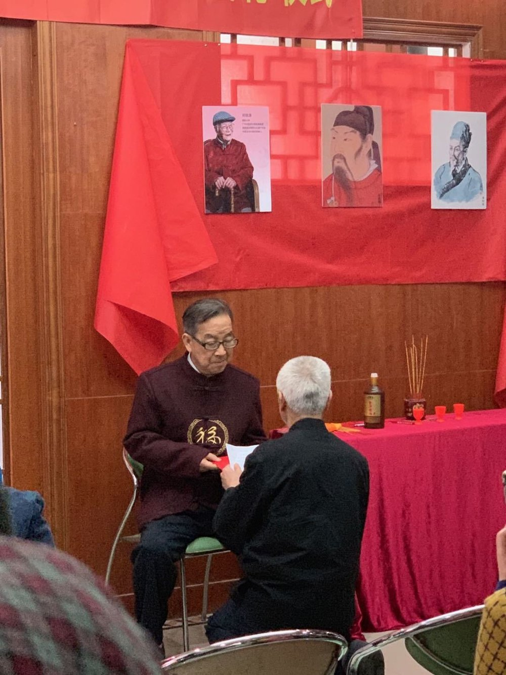 Dr. Wu reading his apprenticeship vow to Prof. Xiao