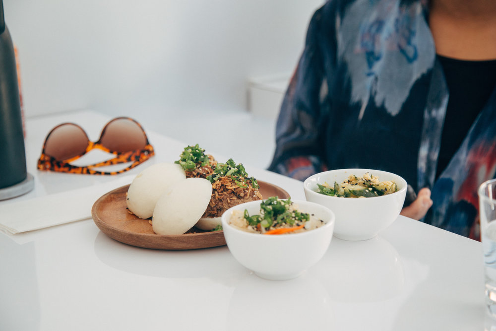 Buns, Kimchi and Salad