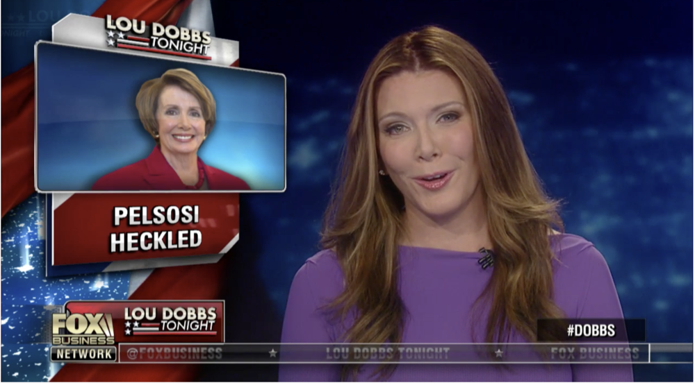 Trish Regan of Fox Business News smirks as she reports on Nancy Pelosi being heckled.