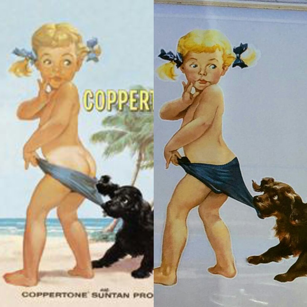 Original Coppertone girl on the left. Current version on the right.