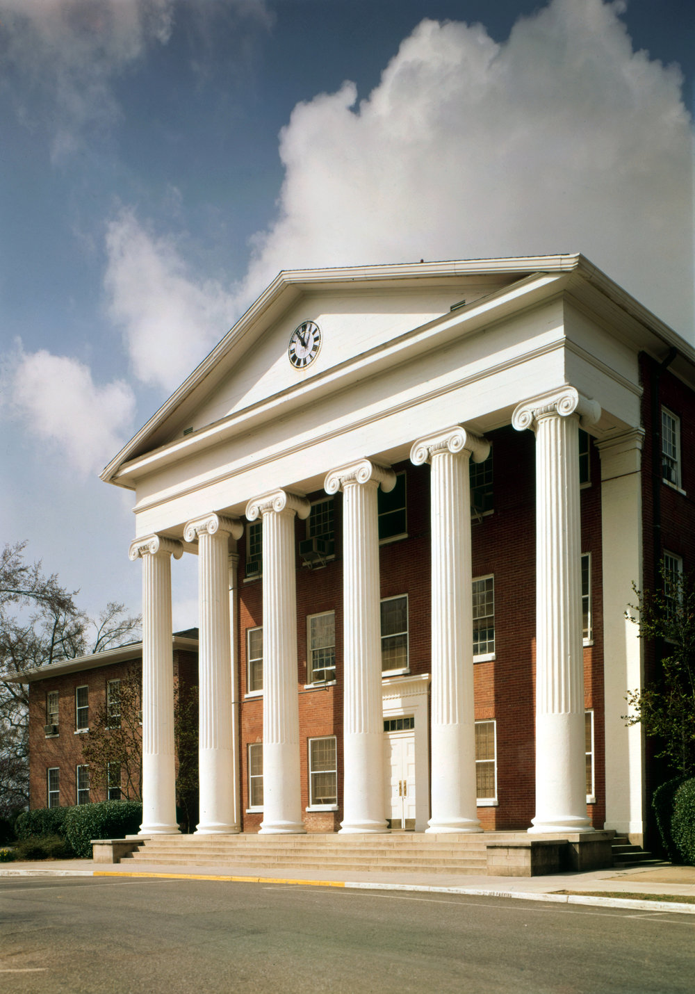 Ole Miss' iconic Lyceum. Built in 1848, there are bullet marks on the columns from the violence that ensued when the school was integrated in 1962 and James Meredith was the first African-American student to enroll.