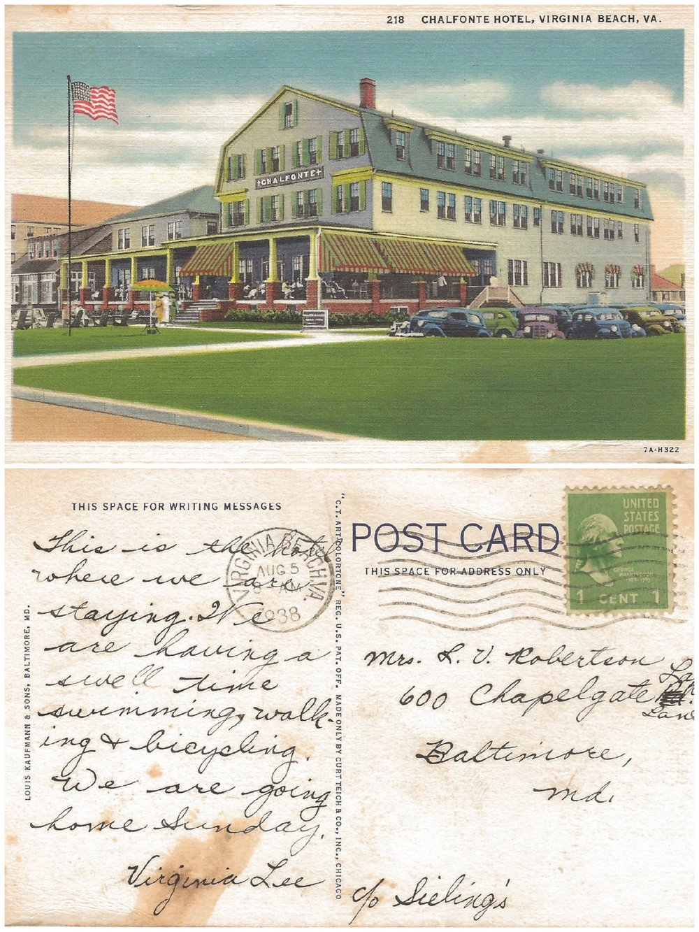 The Chalfonte Hotel (sometimes called the Trafton-Chalfonte) was located at 28th Street and the oceanfront. It was destroyed by fire in 1960. Wonder why Virginia Lee didn't stay at the next hotel, however, when she visited Virginia Beach in 1938?