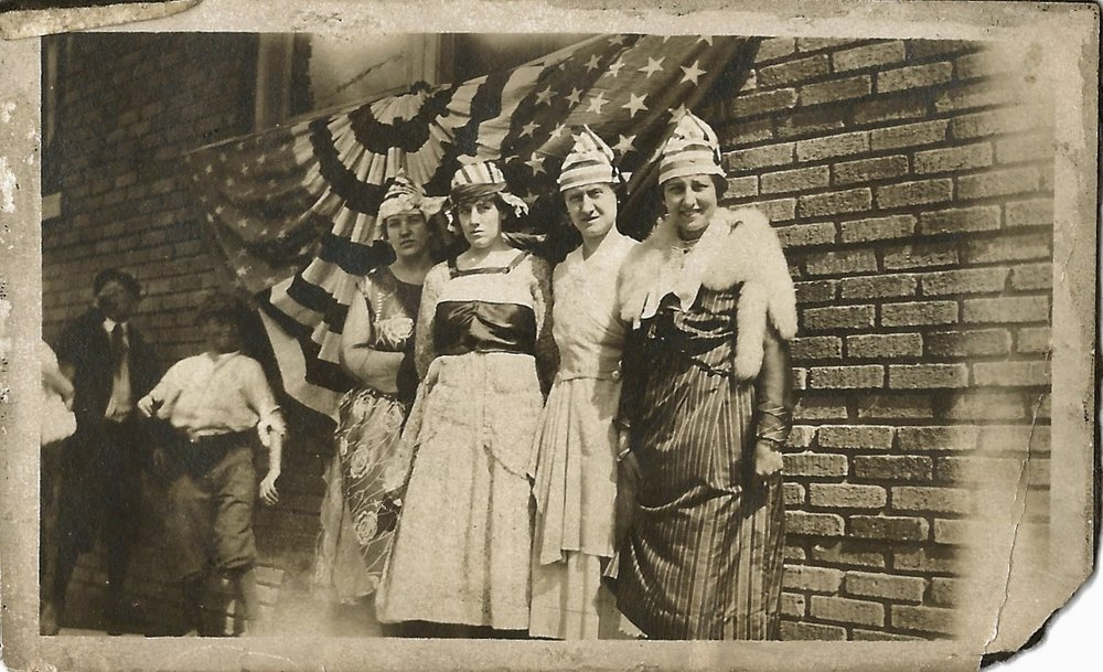 We've always been a patriotic family. That's Bertha, second from the left, with the earflaps.