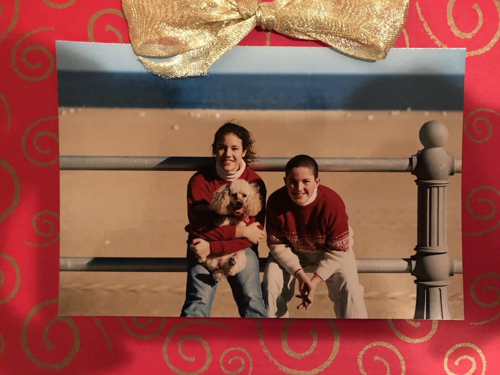 One of our last family Christmas cards. Before braces and Clearasil.