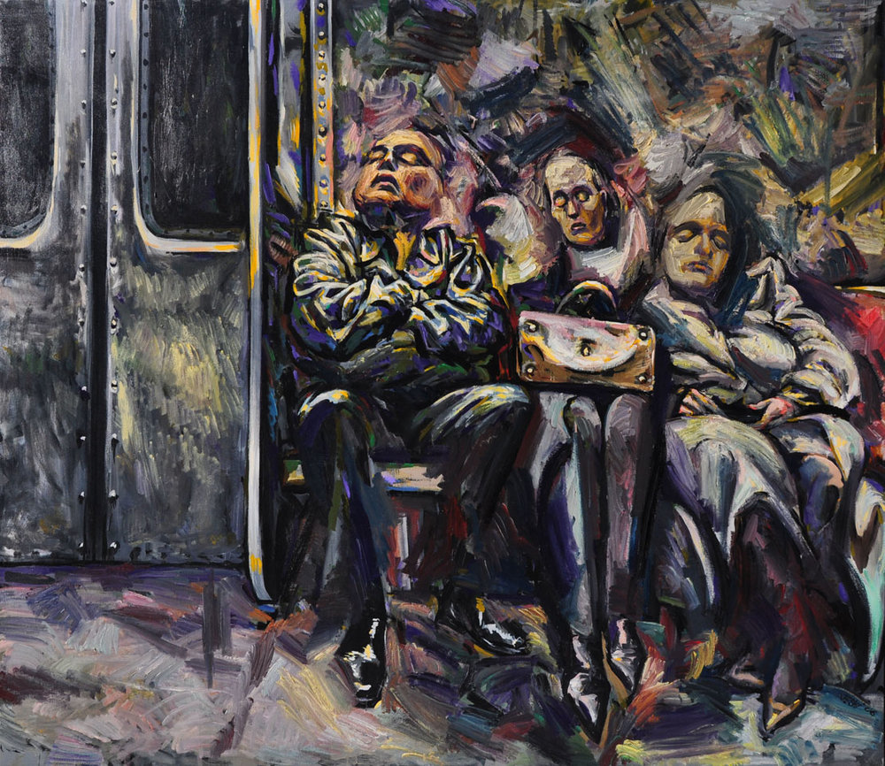 Three on the Subway, 2005-06. Oil on canvas, 66 inch x 78 inch