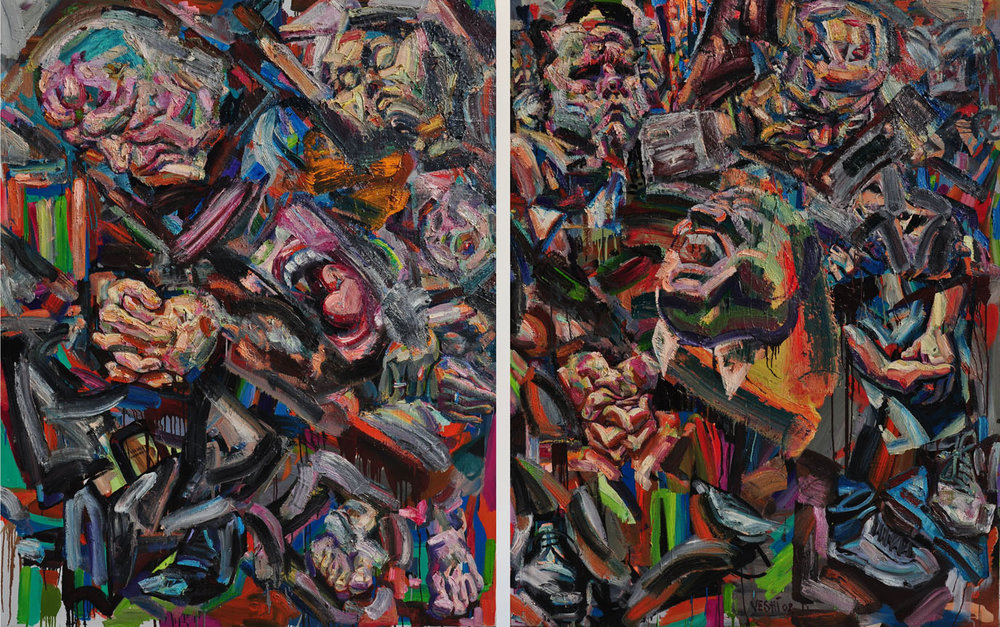 A Shrill Laugh Over Anguished Sleepers, 2008. Oil on canvas, 74 inch x 116 inch