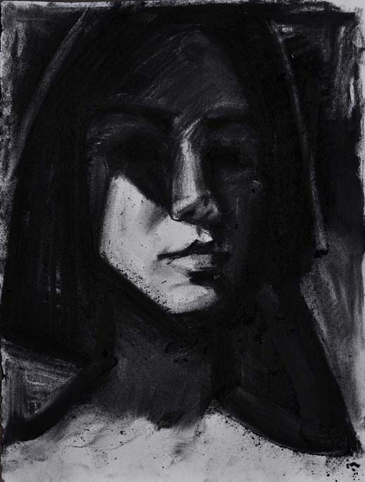 Drawing #80, Zheni, 2018. Charcoal on paper, 15 inch x 11.25 inch