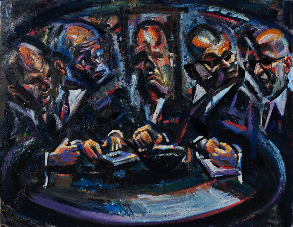 Around the Table (second version), 2019. Oil on canvas, 50 inch x 65.5 inch