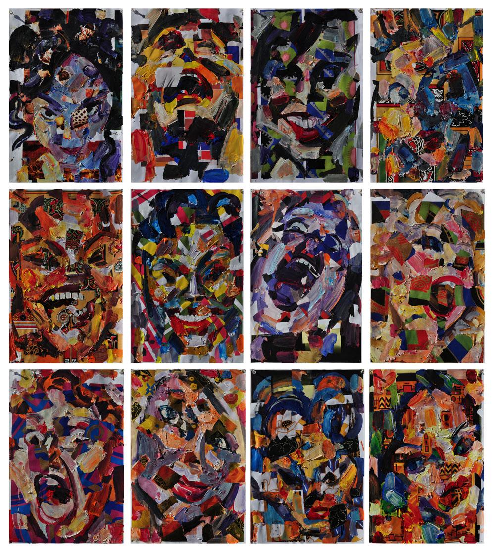 Twelve Women, 2011. Mixed media on paper, 52 inch x 45.5 inch