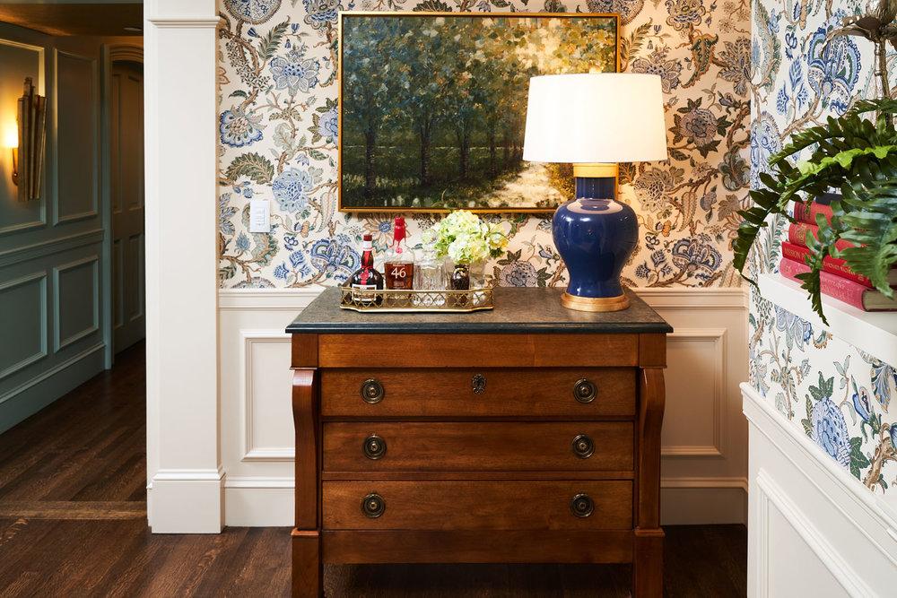 Tudor building living room remodel, lamp wallpaper, interior design