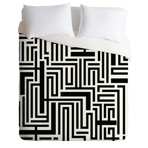 Black & White Khristian A Howell Meander Duvet Cover - Deny Designs