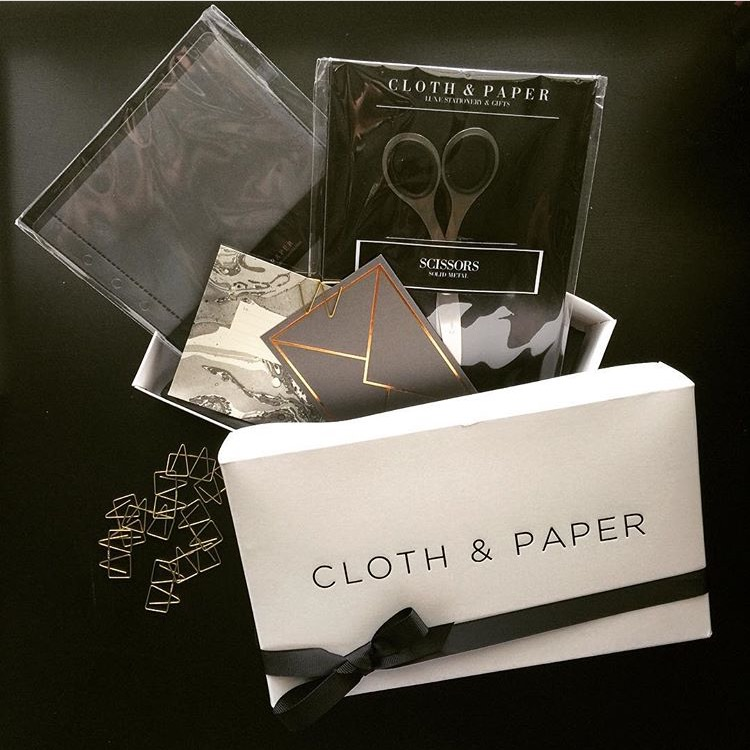 Cloth and Paper Penspiration and Stationery Box - $48  Cloth & Paper curate monthly stationery and pen subscription boxes and design luxe planners, dividers, inserts and accessories. Every month, subscribers receive a box full of Cloth & Paper exclusives, stationery goods, planner accessories, hard to find pens, and all types of fancy lifestyle items.