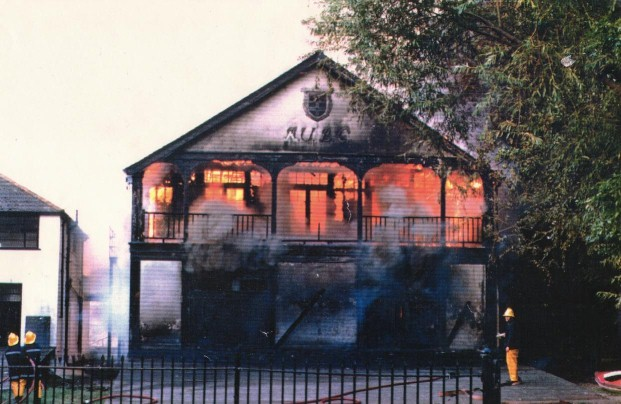 RUBC men's boathouse destroyed by fire in 1989.