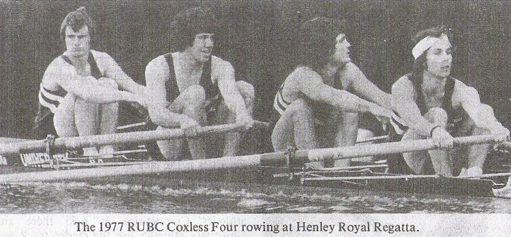 RUBC Visitors 4- rowing at Henley, 1977.