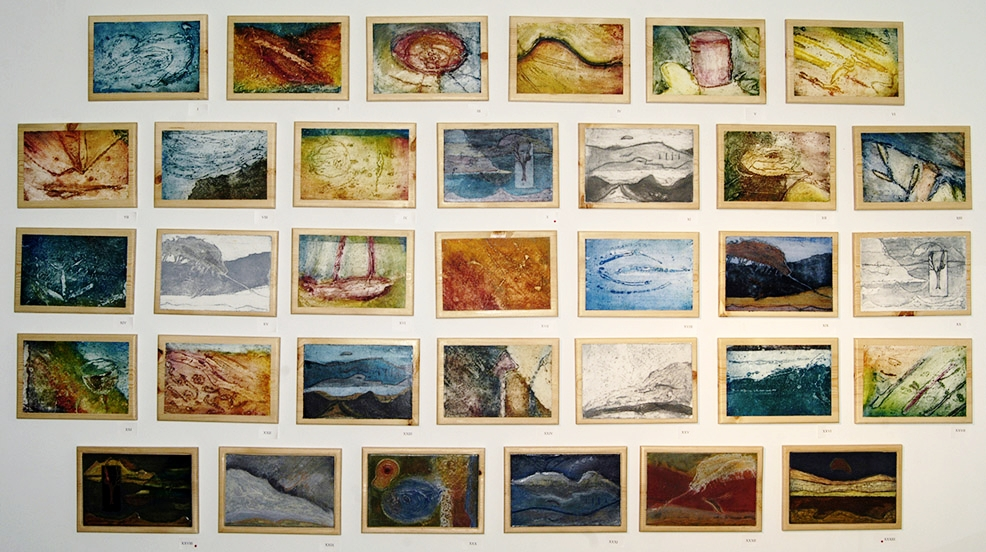 """33 Collagraph Plates and Prints 9"""" x 13"""""""