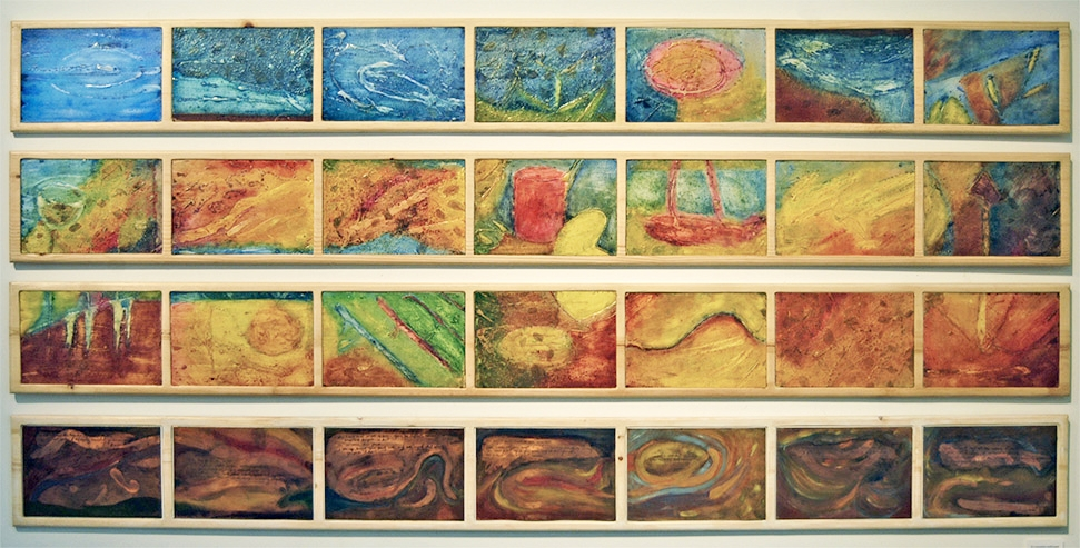 """Collagraph and Copper Etching Plates 9"""" x 13""""  inlaid in wooden panels 4 @ 95"""" x 9"""""""