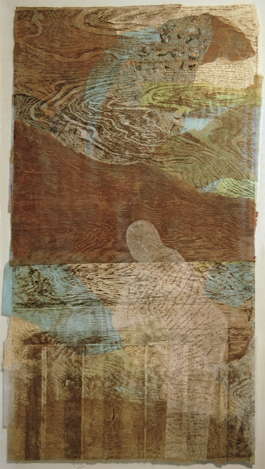 """Woodcut Print on collaged papers 24"""" 36"""""""