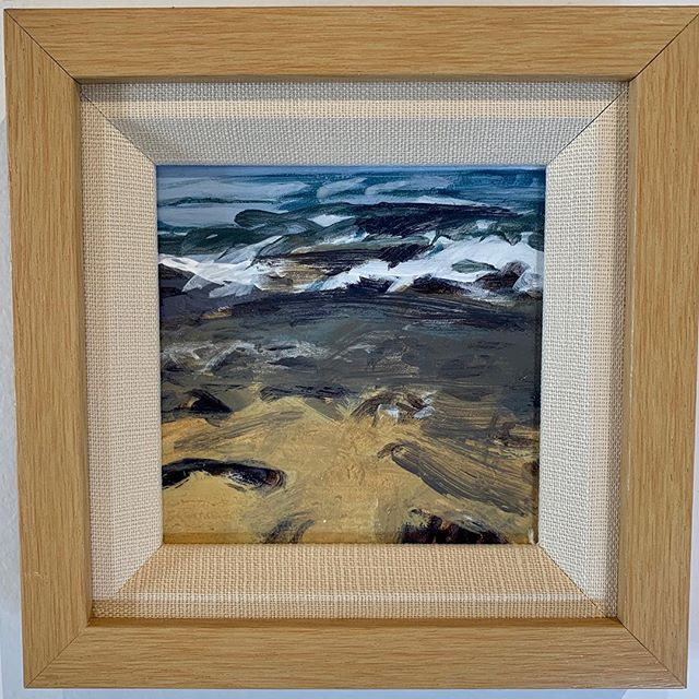 Dip your toes in... these mini seascape paintings by Santa Fe artist Caroline Huggins are framed and ready to hang. . . . #carolinehuggins #seascape #painting #losolivosca #pacificocean #cambria #randdlosolivos