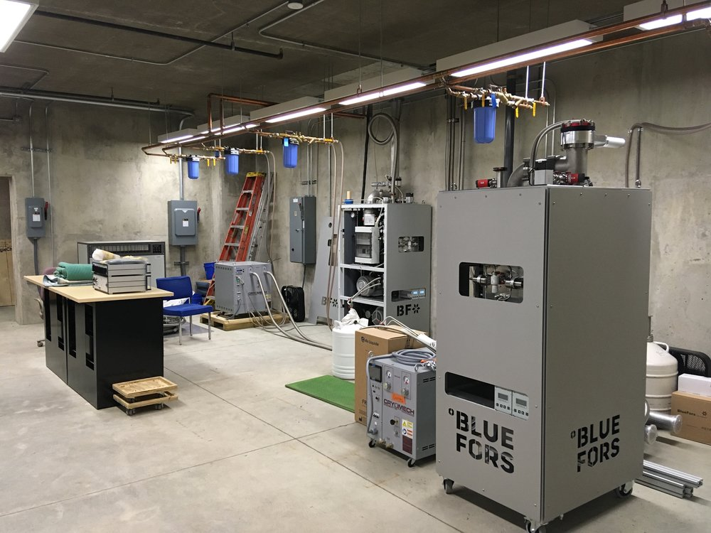 At the LHQS, the gas handling systems (GHS) and compressors for the cryostats live in the subbasement area directly beneath our main measurement lab. Lots of fun work to do down here too to get the new system set up!