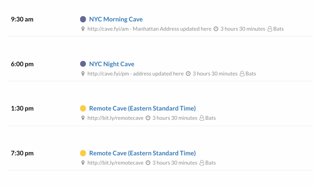 Caveday schedule screenshot