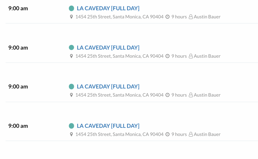 Caveday schedule in Los Angeles