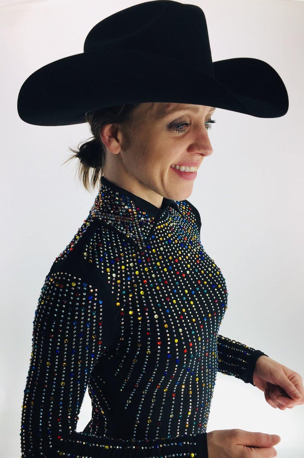 Black With Rainbow Rhinestones Western Show Shirts Horse Show Clothing And Apparel Sparkle Ridge