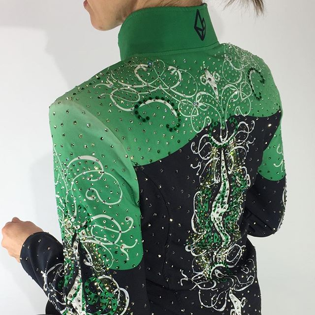 @sparkleridge Girls L/ Women's XS Green & Black Classic Pleasure Jacket with stones only $299 click photo for more details!