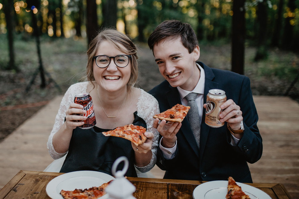 My best friend and I eating our favorite meal on our wedding day.