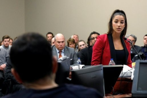 - 'It's Your Turn to Listen to Me.' Read Aly Raisman's Testimony at Larry Nassar's Sentencing.Mahita Gajanan | January 19, 2018Olympic gymnast Aly Raisman confronted Larry Nassar, the disgraced former USA Gymnastics doctor who she says sexually abused her for years, with a blistering statement in court on Friday.