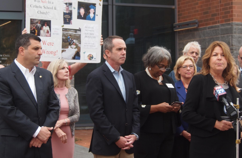 - Bucks County senators pressured to support child sex abuse billKyle Bagenstose | October 8, 2018Mark Rozzi, a state representative from Berks County who was raped by a priest as a child, visited Bucks County on Monday and called on state Sens. McIlhinney and Tomlinson to support a measure that would open up a two-year window in the statute of limitations.