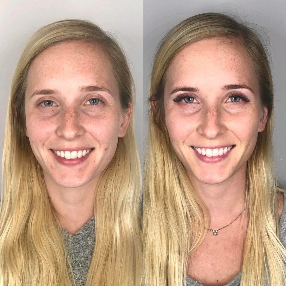 Brow tint and shape, lash extensions, facial