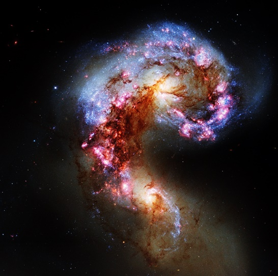 The Antennae galaxies, a pair of interacting galaxies located 45 – 65 million light years from Earth.