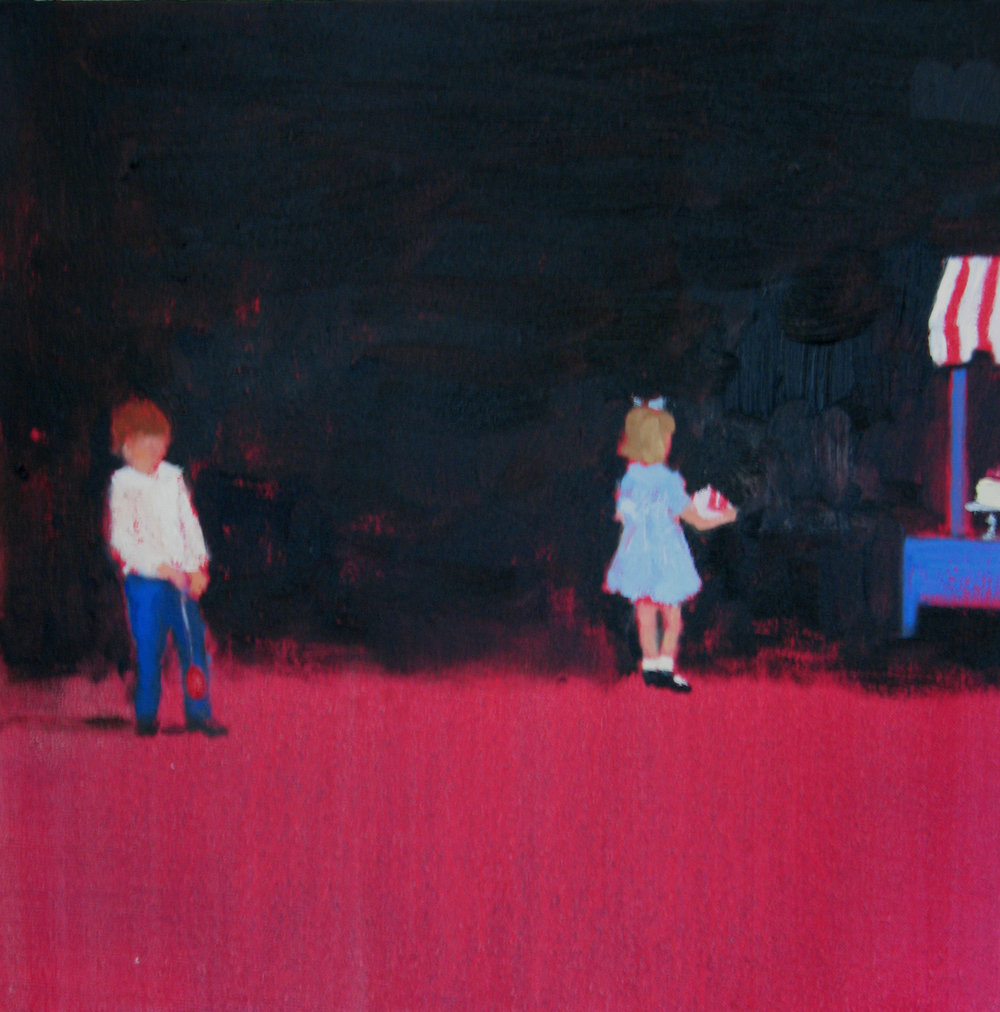 Painted Room (yo-yo and raspberry cake) oil on linen 10 x 10 in. 2008