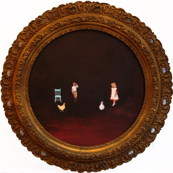 Window Seat (rehearsal party) oil on panel 20 in. diameter 2008