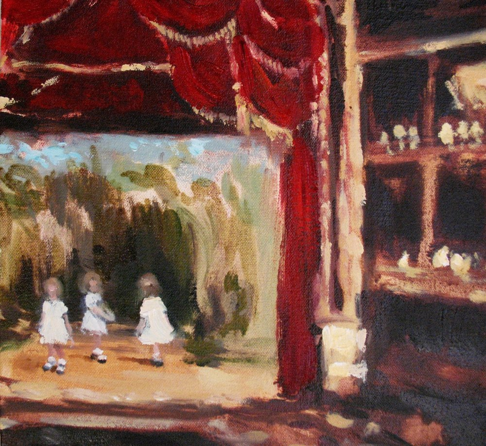 Canopy (on stage) 8 x 8 in. oil on canvas 2010