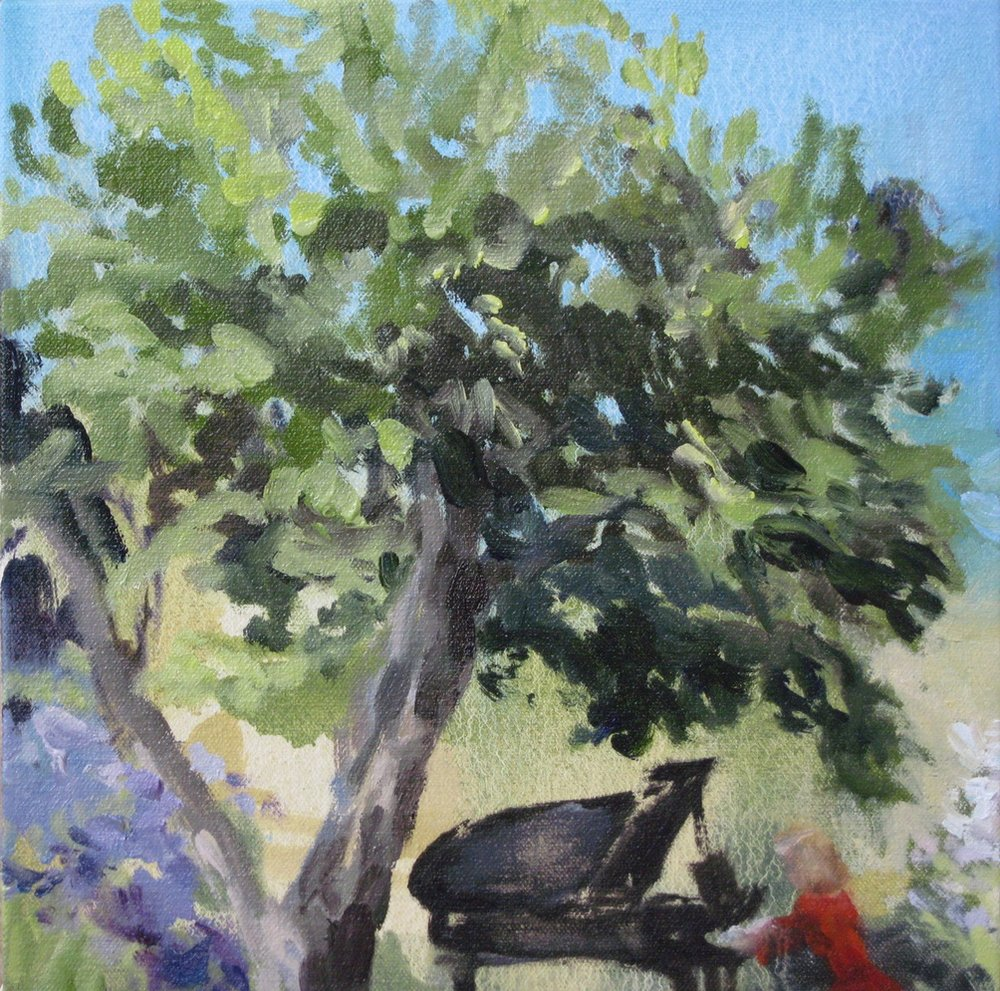 Canopy (piano in the garden) 8 x 8 in. oil on canvas 2010