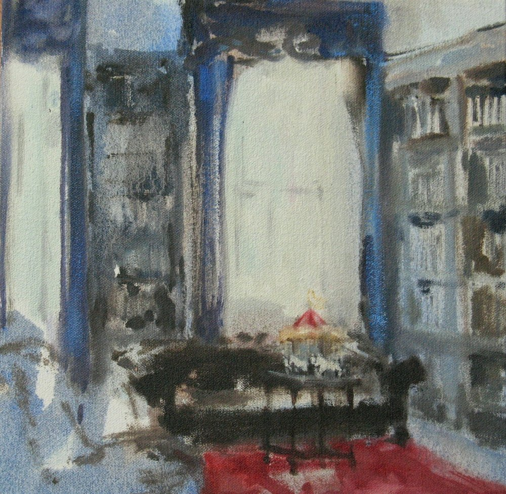 Velvet Carousel (magic in the study) oil on canvas  8 x 8 in. 2010